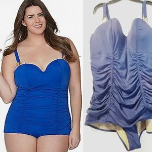 28 Cacique Swim by Lane Bryant Ruched Swimsuit